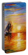 Misty Ship - Palette Knife Oil Painting On Canvas By Leonid Afremov Portable Battery Charger