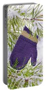 Mitten In Snowy Pine Tree Portable Battery Charger