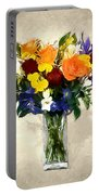 Mixed Bouquet Of Tropical Colored Flowers On Textured Vignette Oil Painting Portable Battery Charger