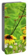 Mixed Flowers Bloom In A Garden Portable Battery Charger