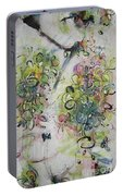 Modern Spring Blossom Art Painting Flower Butterfly Art Acrylic Ink Rice Paper Green Yellow Pink Sjk Portable Battery Charger
