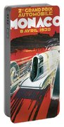 Monaco Grand Prix Vintage Poster Portable Battery Charger