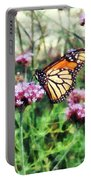 Monarch Butterfly On Pink Lantana Portable Battery Charger