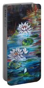 Monet's Pond With Lotus 11 Portable Battery Charger