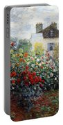 Monet's The Artist's Garden In Argenteuil  -- A Corner Of The Garden With Dahlias Portable Battery Charger