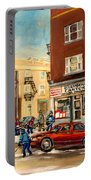 Monkland Street Hockey Game Montreal Urban Scene Portable Battery Charger by Carole Spandau