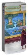 Monks In Rain At Shwedagon Paya Temple Yangon Myanmar Portable Battery Charger
