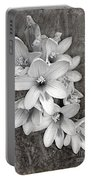 Monochrome Freesia Canvas Grunge Portable Battery Charger
