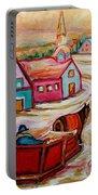 Mont St.hilaire Going Towards The Village Quebec Winter Landscape Paintings Carole Spandau Portable Battery Charger