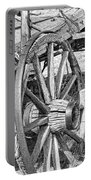 Montana Old Wagon Wheels Monochrome Portable Battery Charger by Jennie Marie Schell