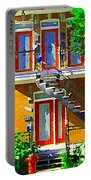 Montreal Art Seeing Red Verdun Wooden Doors And Fire Hydrant Triplex City Scene Carole Spandau Portable Battery Charger