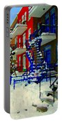 Montreal Art Streets Of Verdun Winter Scenes Winding Staircases Snowscenes Carole Spandau Portable Battery Charger
