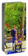 Montreal Art Summer Cafe Scene Rue Laurier Family Day Wagon Ride City Scene Art By Carole Spandau Portable Battery Charger