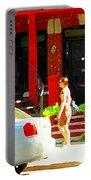 Montreal Art Summer Stroll On A Sunny Morning Colorful Street Verdun City Scene Carole Spandau Portable Battery Charger