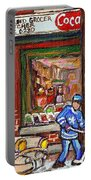 Montreal Hockey Paintings At The Corner Depanneur - Piche's Grocery Goosevillage Psc Griffintown  Portable Battery Charger