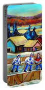 Montreal Memories Rink Hockey In The Country Hockey Our National Pastime Carole Spandau Paintings Portable Battery Charger