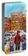 Montreal Paintings Winter Walk Past The Old School Snowy Day City Scene Carole Spandau Portable Battery Charger