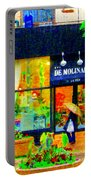 Montreal Rainy Day  Window Shopping Girl With Paisley Umbrella Spa Molinard Laurier  Carole Spandau Portable Battery Charger