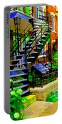 Montreal Staircases Verdun Stairs Duplex Flower Gardens Summer City Scenes Carole Spandau Portable Battery Charger