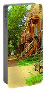 Montreal Stairs Winding Staircases And Sunny Tree Lined Sidewalks Verdun Scenes Carole Spandau  Portable Battery Charger