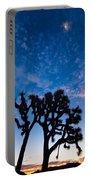 Moon Over Joshua - Joshua Trees During Sunrise In Joshua Tree National Park. Portable Battery Charger