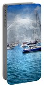 Moon Over The City Harbor Portable Battery Charger