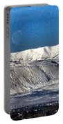 Moon Over The Snow Covered Mountains Portable Battery Charger