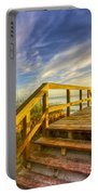 Morning Beach Walk Portable Battery Charger by Debra and Dave Vanderlaan