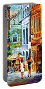 Morning Gossip - Palette Knife Oil Painting On Canvas By Leonid Afremov Portable Battery Charger