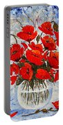 Morning Red Poppies Original Palette Knife Painting Portable Battery Charger