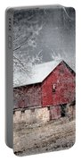Morris County Red Barn In Snow Portable Battery Charger