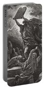 Moses Breaking The Tablets Of The Law Portable Battery Charger by Gustave Dore