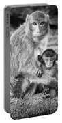 Mother And Baby Monkey Black And White Portable Battery Charger