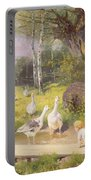 Mother And Child With Geese Portable Battery Charger