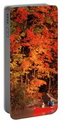 Mother And Son Canoeing Near Fall Portable Battery Charger
