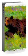 Mother Bear And Cub In Meadow Portable Battery Charger