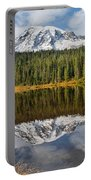 Mount Rainier And Reflection Lakes In The Fall Portable Battery Charger