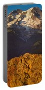 Mount Rainier At Sunset With Big Boulders In Foreground Portable Battery Charger