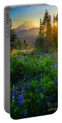 Mount Rainier Sunburst Portable Battery Charger by Inge Johnsson