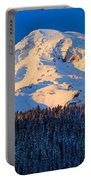 Mount Rainier Winter Evening Portable Battery Charger