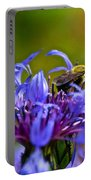 Mountain Cornflower And Bumble Bee Portable Battery Charger by Byron Varvarigos