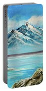 Mountain Lake In Winter Original Painting Forsale Portable Battery Charger