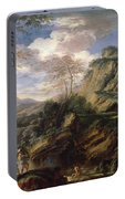 Mountain Landscape With Figures Portable Battery Charger