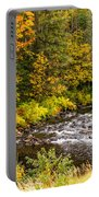 Mountain Stream In Autumn Portable Battery Charger