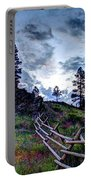 Mountain Wooden Fence  Portable Battery Charger