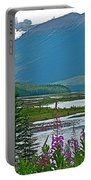 Mountains And Fireweed Along North Sascatchewan River Along Icefield Parkway-ab Portable Battery Charger