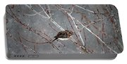 Mourning Dove Asleep In Snowfall Portable Battery Charger