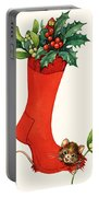 Mouse In A Christmas Sock Portable Battery Charger by English School