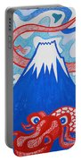 Mt. Fuji And A Red Dragon Portable Battery Charger