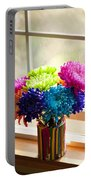 Multicolored Chrysanthemums In Paint Can On Window Sill Portable Battery Charger